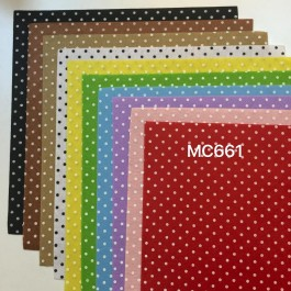 MC661: Big Polka Dot Printed Felt 30x30cm, 10 pieces