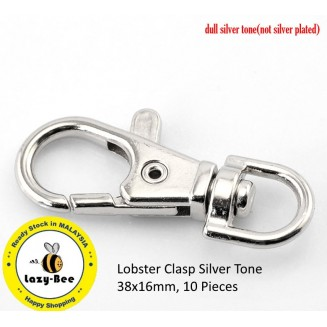 B21490: Lobster Clasp Silver Tone 38x16mm, 10 Pieces [ A10 ]