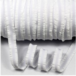 ER181: WHITE: 13mm Fungus Flower Elastic Ribbon Wrinkle Trimming Lingerie Straps Ribbon, 5 meter
