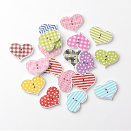 WB026: 50 pieces  20x25mm Heart 2-Hole Printed Wooden Buttons DIY Sewing Craft [ B8 ]