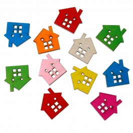 B59367: Wood Button House 23x22mm, 100 pieces [ B18 ]