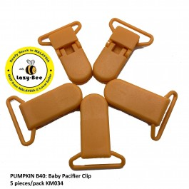 KM034: PUMPKIN B40: Baby Pacifier Clip 30mm, 5 pieces