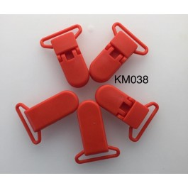 KM038: CHINA RED: Baby Pacifier Clip 30mm, 5 pieces/pack [ Z34 ]