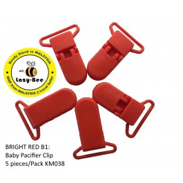 KM038: BRIGHT RED B1: Baby Pacifier Clip 30mm, 5 pieces