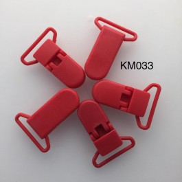 KM033: CHILLI RED: Baby Pacifier Clip 30mm, 5 pieces/pack