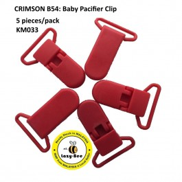 KM033: CRIMSON B54: Baby Pacifier Clip 30mm, 5 pieces