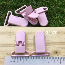KM029: BABY PINK: Baby Pacifier Clip 30mm, 5 pieces/pack