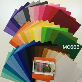 MC665: 42 Mixed Colour 1mm Felt, A4 size Plus sewing kit