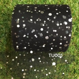 TU001: BLACK: Glitter Tutu 3inch, 25yards
