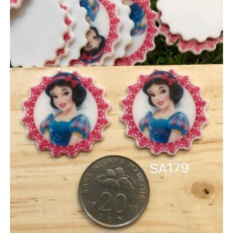 SA179: Snow White Round 31x31mm, 5 pieces [ Z19 ]