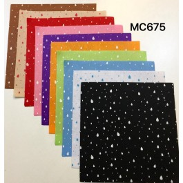 MC675: Water Drop Printed 1mm Poly Felt 30x30cm, 10 pieces
