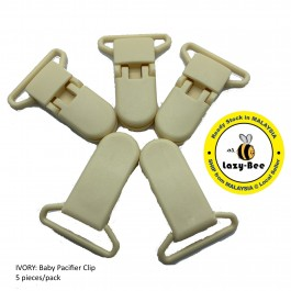 KM064: IVORY: Baby Pacifier Clip 30mm, 5 pieces