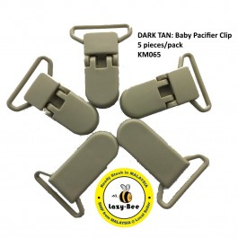 KM065: DARK TAN: Baby Pacifier Clip 30mm, 5 pieces