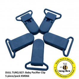 KM066: DULL TURQ B27: Baby Pacifier Clip 30mm, 5 pieces