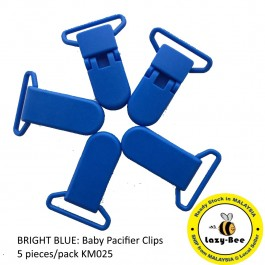 KM025: BRIGHT BLUE: Baby Pacifier Clip 30mm, 5 pieces