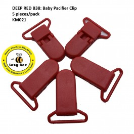 KM021: DEEP RED B38: Baby Pacifier Clip 30mm, 5 pieces