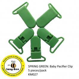KM027: SPRING GREEN: Baby Pacifier Clip 30mm, 5 pieces/pack