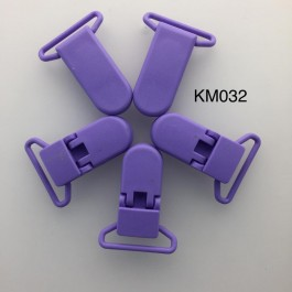 KM032: PURPLE: Baby Pacifier Clip 30mm, 5 pieces/pack