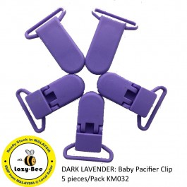 KM032: DARK LAVENDER: Baby Pacifier Clip 30mm, 5 pieces