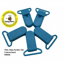 KM036: TEAL: Baby Pacifier Clip 30mm, 5 pieces