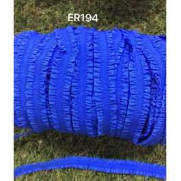 ER194: COBALT: 13mm Fungus Flower Elastic Ribbon Wrinkle Trimming DIY Lingerie Straps Ribbon, 5 meter