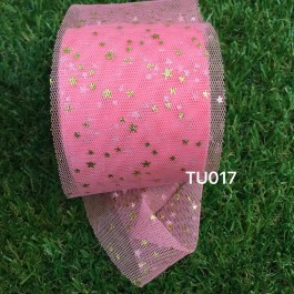 TU017: WATERMELON: 60mm Gold Star Tutu, 5 yards
