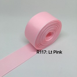 R117-25: LT PINK: Grosgrain Ribbon 25mm, 5Meter