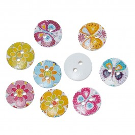 B66879: 100 pcs 15mm Butterfly Flower Pattern Wood Sewing Buttons DIY Sewing Craft Scrapbook Mask Extension [A7]