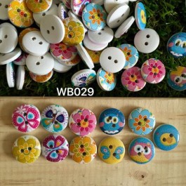WB029: Owl Flower Round Wood Button 15mm, 50 pieces [ A7 ]