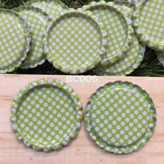 BC006: Green Polka Dot: Bottle Cap, 10 pieces