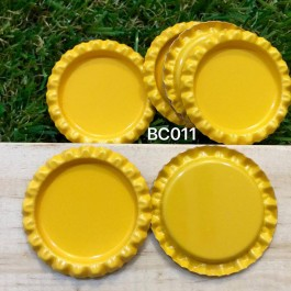 BC011: Yellow: Bottle Cap, 10 pieces