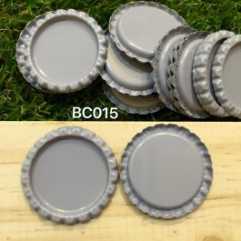 BC015: Grey: Bottle Cap, 10 pieces