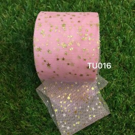 TU016: PINK: 60mm Gold Star Tutu, 5 yards