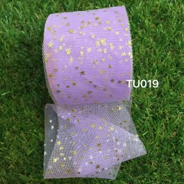 TU019: PURPLE: 60mm Gold Star Tutu, 5 yards
