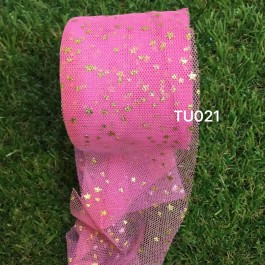 TU021: FUCHSIA: 60mm Gold Star Tutu, 5 yards