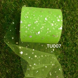 TU007: APPLE GREEN: Glitter Tutu 3inch, 25yards