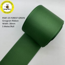 R587-38: FOREST GREEN: Grosgrain Ribbon 38mm, 5 meter