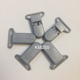 KM255: SILVER: Baby Pacifier Clip 30mm, 5 pieces/pack