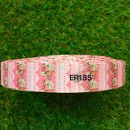 RB185: Pink Vintange Grosgrain Ribbon 22mm, 5Meter