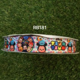 RB181: Tsum Tsum Grosgrain Ribbon 22mm, 5Meter