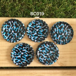 BC019: Blue Leopard: Bottle Cap, 10 pieces