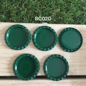 BC020: Dark Green: Bottle Cap, 10 pieces