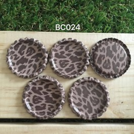 BC024: Brown Leopard: Bottle Cap, 10 pieces