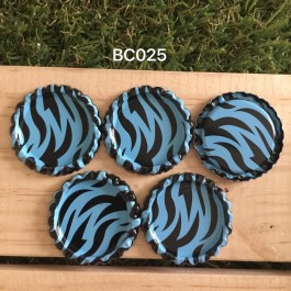 BC025: Blue Zebra: Bottle Cap, 10 pieces