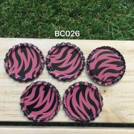 BC026: Watermelon Zebra: Bottle Cap, 10 pieces
