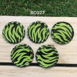 BC027: Green Zebra: Bottle Cap, 10 pieces
