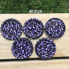 BC028: Purple Leopard: Bottle Cap, 10 pieces