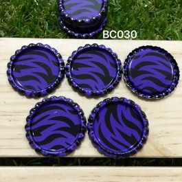 BC030: Purple Zebra: Bottle Cap, 10 pieces