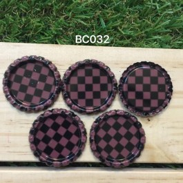 BC032: Brown Check: Bottle Cap, 10 pieces