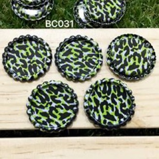 BC031: Green Leopard: Bottle Cap, 10 pieces